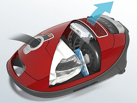 Miele vacuum cleaners' exceptional filtration is based on a multi-stage system. It consists of the innovative Miele HyClean dustbag, motor protection filter and Miele exhaust filter. The interaction of these components ensures that more than 99.9% of fine dust2 is filtered. You can breathe with ease!