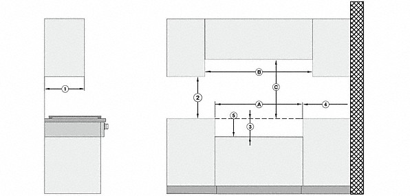 Installation drawings-with 4 burners for professional applications-