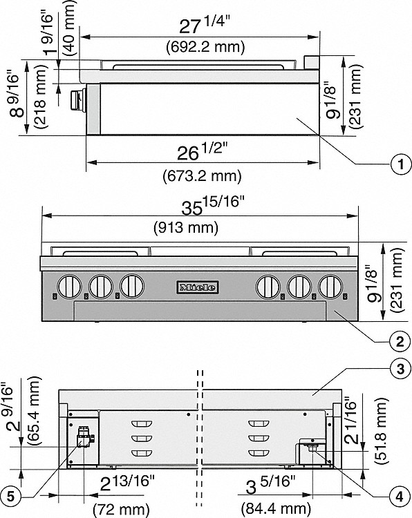 Installation drawings-with 4 burners and griddle for versatility and performance-