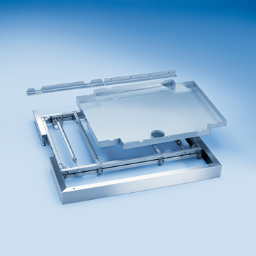 SBWR - Base, on wheels including drip tray without openings for connecting services to PG 8527.--stainless steel exterior