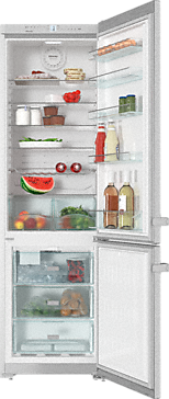 KFN 13923 DE edt/cs - Freestanding fridge-freezer  with convenient interior cabinet and IceMaker for fresh ice cubes any time.--Stainless steel/CleanSteel