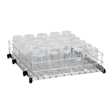 APLW 001 - Mobile unit for optimum loading of laboratory glassware on the bottom level.--stainless steel exterior