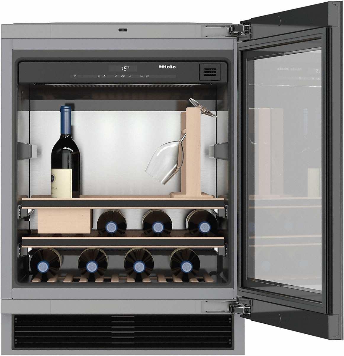 for perfect enjoyment and timeless design with its Push2open and SommelierSet. & Miele KWT 6312 UGS Built-under wine storage unit